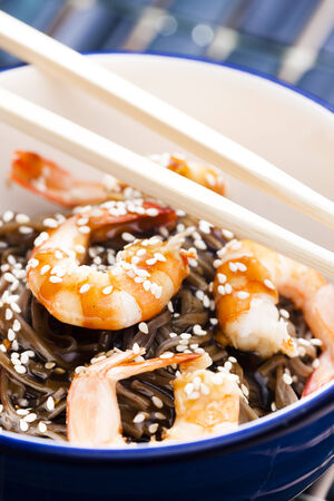 buckwheat noodle: Japanese buckwheat noodles with prawns, soya sauce and sesame