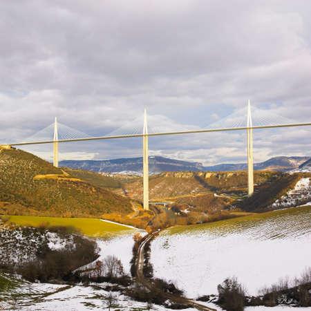 millau: the highest bridge in the world, Millau, France Stock Photo
