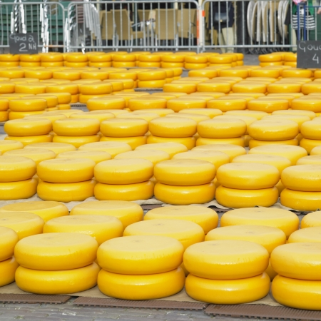 aliments: cheese market, Alkmaar, Netherlands Stock Photo