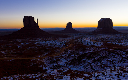 The Mittens and Merrick Butte during sunrise, Monument Valley National Park, Utah-Arizona, USA photo