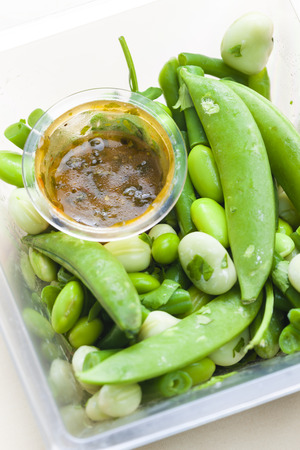 legume: legume salad with dressing Stock Photo