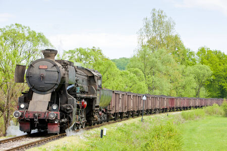 steam freight train in Tuzla region, Bosnia and Hercegovina Stock Photo - 28239623