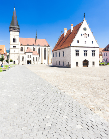 gildhall: Town Hall Square in Bardejov, Slovakia Stock Photo