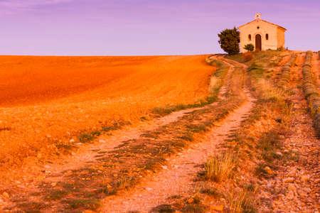 alpes: chapel with lavender field, Plateau de Valensole, Provence, France Stock Photo