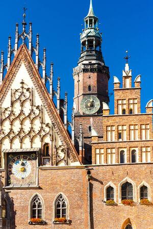 main market: Town Hall on Main Market Square, Wroclaw, Silesia, Poland Stock Photo