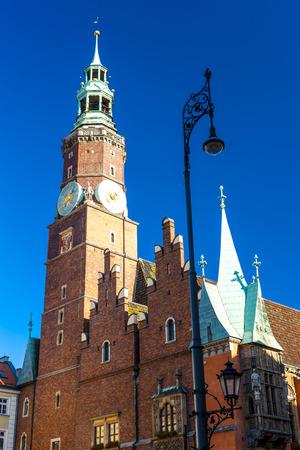 main market: Municipio sulla Piazza del Mercato, Wroclaw, Slesia, Polonia Archivio Fotografico