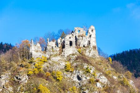 stary: ruins of castle called Stary hrad near Strecno, Slovakia