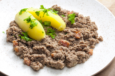 hash: hash meat with bacon and potatoes