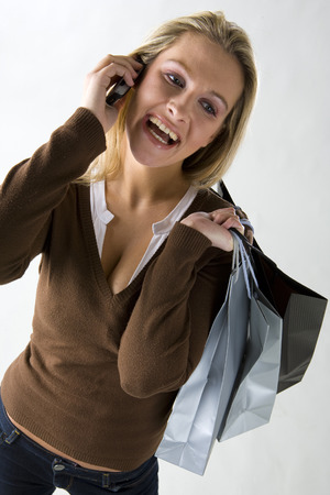 pullovers: portrait of shopping woman
