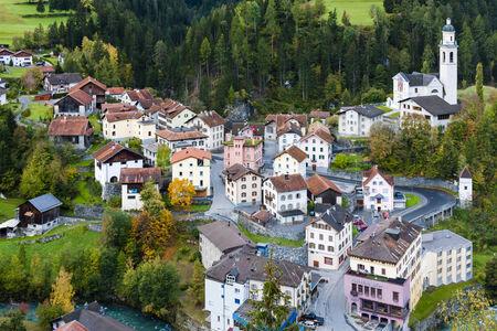 village house: Tiefencastel, canton Graubunden, Switzerland Editorial