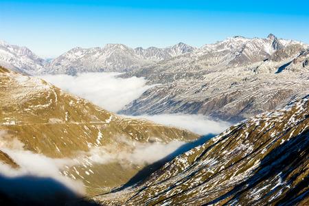 the silence of the world: view from Furkapass, canton Graubunden, Switzerland Stock Photo