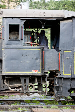 southeast europe: detail of steam locomotive (126.014), Resavica, Serbia Editorial