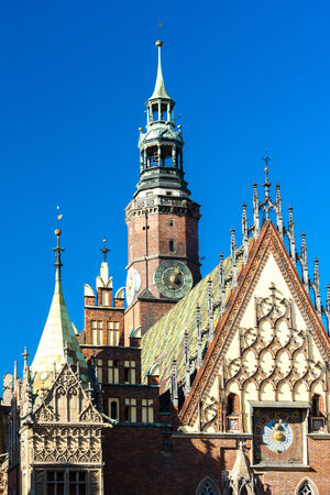 main market: Town Hall on Main Market Square, Wroclaw, Silesia, Poland Stock Photo