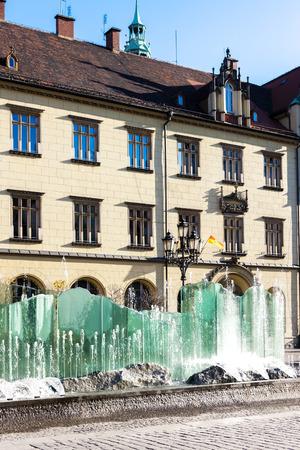 main market: Main Market Square with modern fountain, Wroclaw, Silesia, Poland