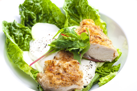 chicken meat: chicken meat with kohlrabi and garlic sauce