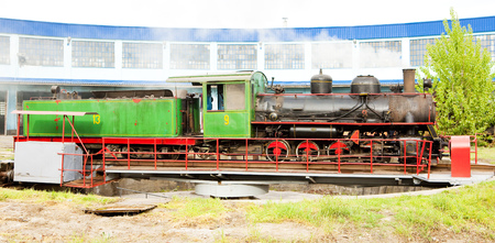 kostolac: steam locomotive in depot, Kostolac, Serbia Editorial