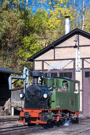 narrow gauge railroads: steam locomotive, Johstadt, Germany Editorial