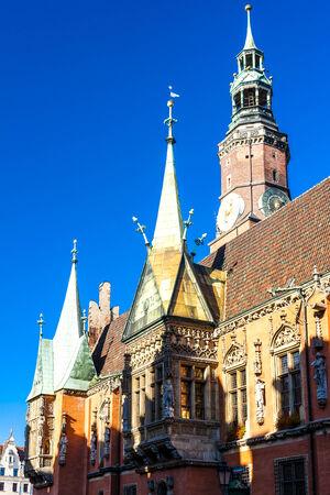 main market: Municipio sulla Piazza del Mercato, Wroclaw, Slesia, in Polonia