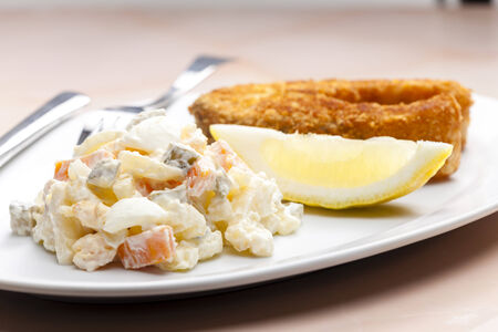 potato salad: fried carp with potato salad