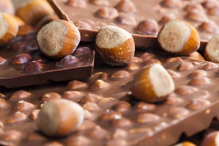 chocolate bars with hazelnuts Stock Photo