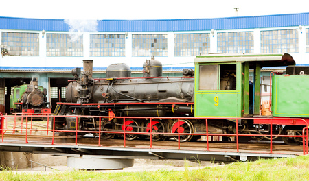 steam locomotive: steam locomotive in depot, Kostolac, Serbia Editorial