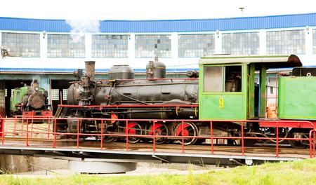 steam locomotive in depot, Kostolac, Serbia Editorial