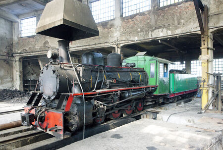 steam locomotive in depot, Kostolac, Serbia Stock Photo