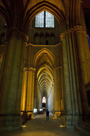 champagne region: interior of Cathedral Notre Dame, Reims, Champagne, France Editorial
