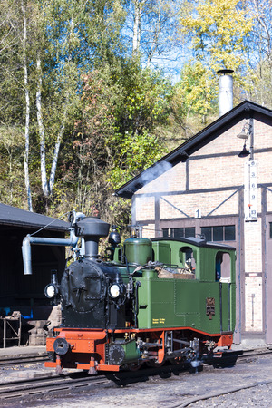 narrow gauge railroad: steam locomotive, Johstadt, Germany Editorial