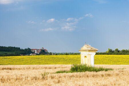 torture: Gods torture with sunflower field and Jaroslavice Castle, Czech Republic
