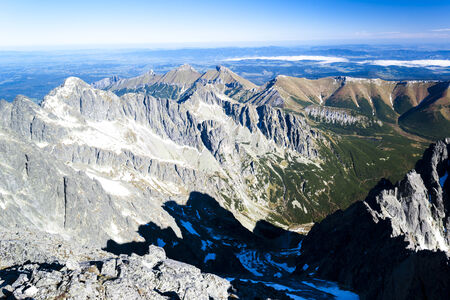 tatras tatry: view from Lomnicky Peak, Vysoke Tatry (High Tatras), Slovakia Stock Photo
