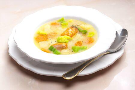 potato soup: potato soup with salmon