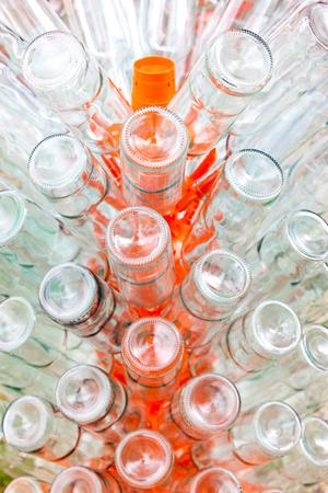 rack arrangement: empty bottles of wine on rack
