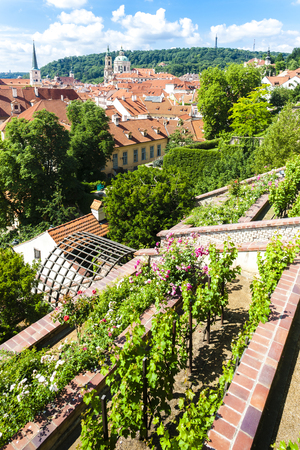 'saint nicholas': Ledeburska Garden and Saint Nicholas Church, Prague, Czech Republic Stock Photo