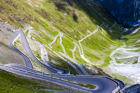 quietness: Road at Passo dello Stelvio, Alto Adige, Italy Stock Photo