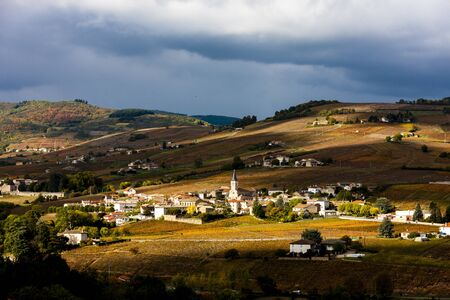 village Julienas with vineyards in Beaujolais, Rhone-Alpes, France Stock Photo