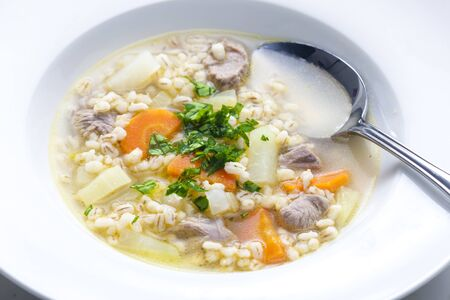mutton: Scottish soup of mutton meat with kohlrabi and barley Stock Photo