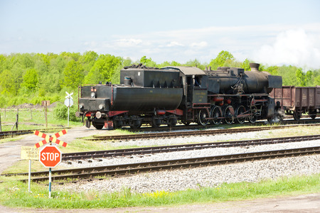 yugoslavia federal republic: steam locomotive in Tuzla region, Bosnia and Hercegovina Stock Photo