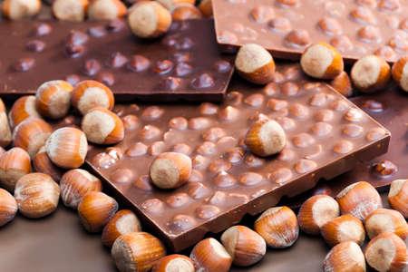 tempt: chocolate bars with hazelnuts Stock Photo
