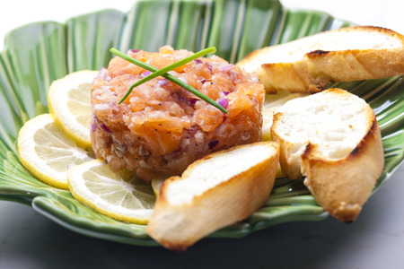 red onion: salmon tartar with red onion Stock Photo
