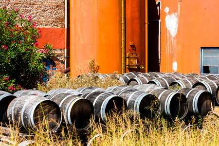 casks: casks in front of wine cellar, Languedoc-Roussillon, France