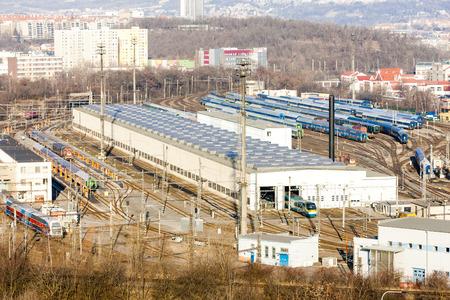 motor de carro: ferroviario dep�sito, Praga, Rep�blica Checa