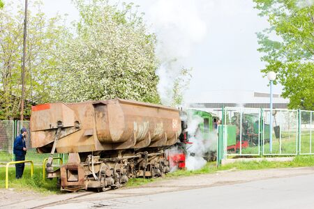 steam traction: steam freight train, Kostolac, Serbia Editorial