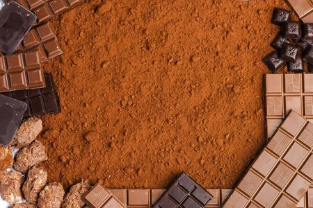 tempt: still life of chocolate in cocoa Stock Photo