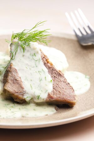 dill: dill sauce with beef meat Stock Photo