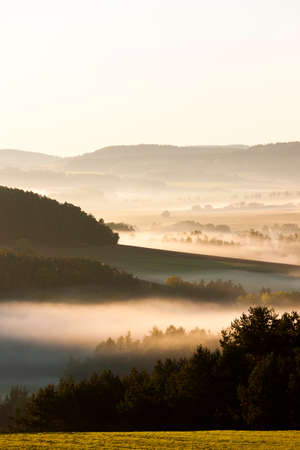 quietness: autumnal landscape in fog, Sumava, Czech Republic Stock Photo