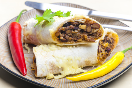 burrito: burrito filled with beef minced meat and beans baked with gouda cheese