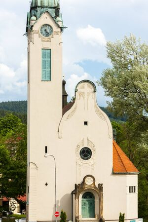 exaltation: The Church of the exaltation of the Holy Cross, Jablonec nad Nisou, Czech Republic Stock Photo