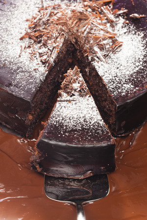 still life of chocolate with chocolate cake