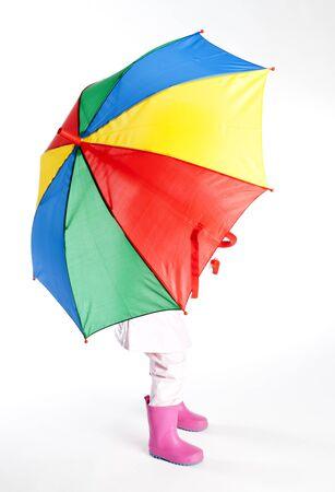 wellingtons: little girl with umbrella